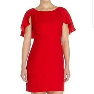 Jessica Simpson Red Ruffle Trim Cape Shift Dress
